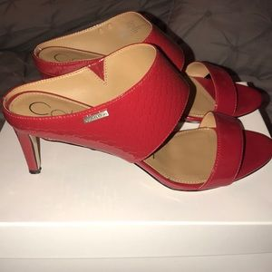 Red patin leather shoes